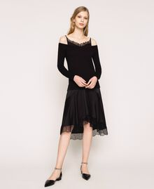 Knit dress with slip effect satin Black Woman 201TP3070-01