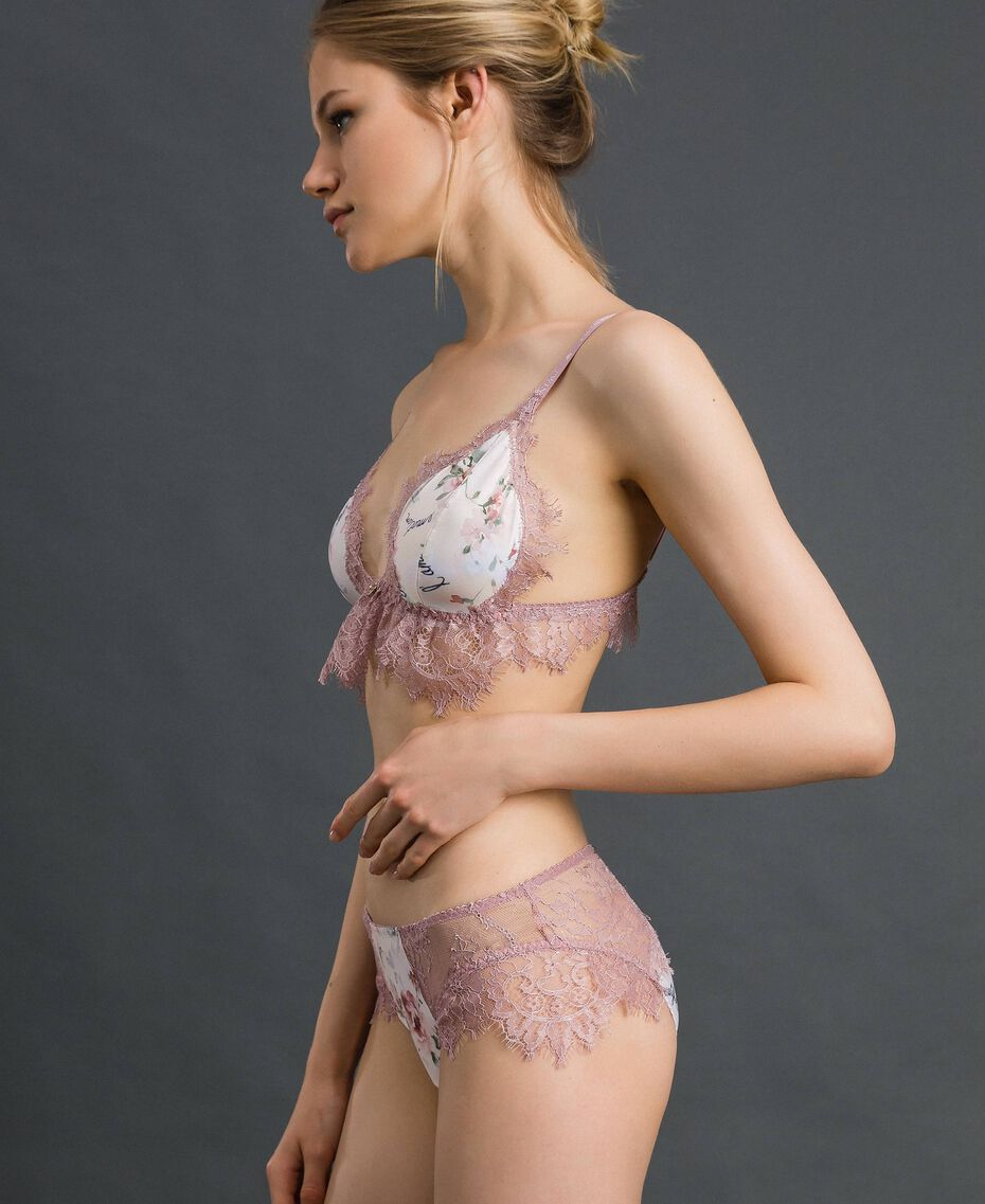 Floral briefs with lace Ivory Floral Print Woman 192LI6566-02