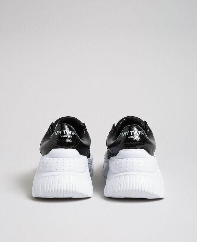 Chaussures de running en similicuir sans lacets Noir Femme 192MCP06L-03
