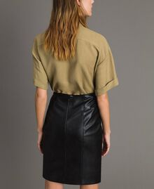 Faux leather mini skirt with fringes Black Woman 191TT2321-03