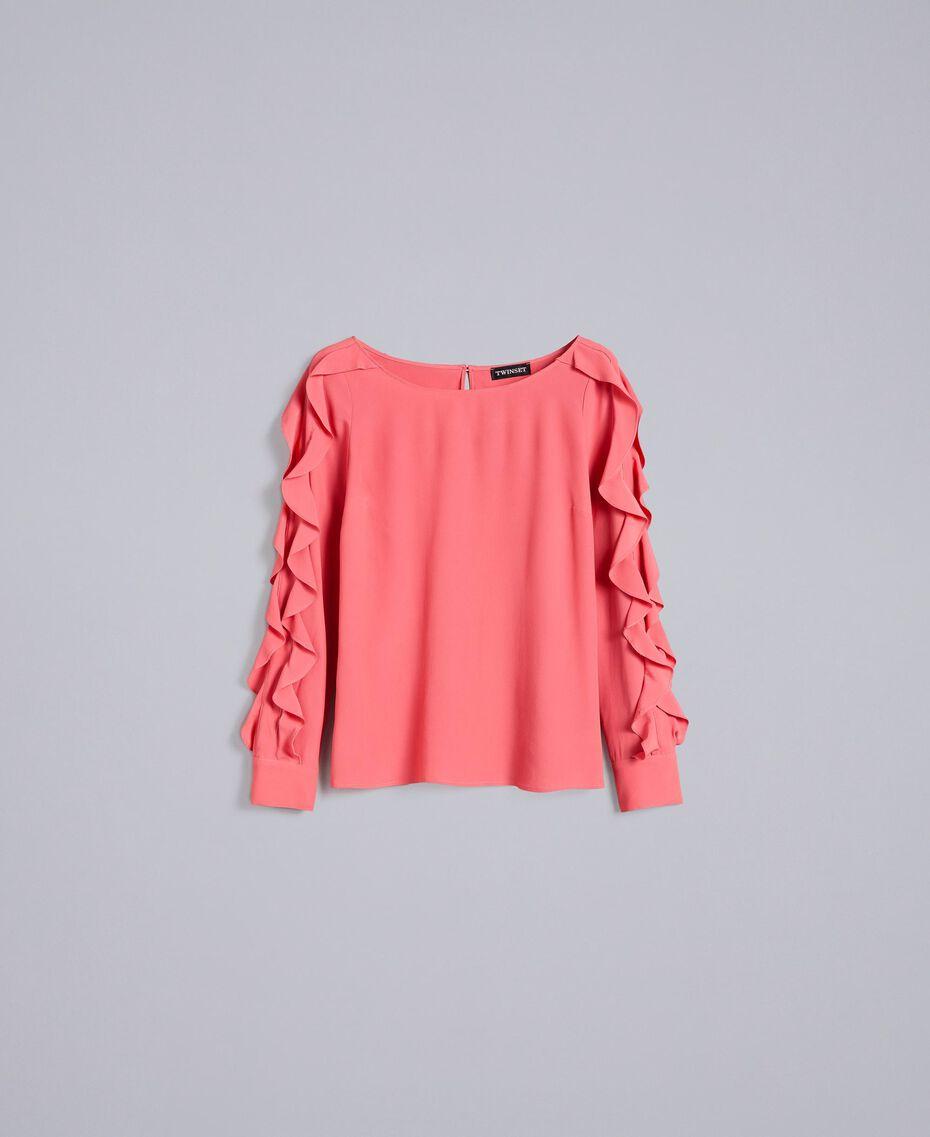 Silk blend blouse with frills Royal Pink Pink Woman PA828B-0S