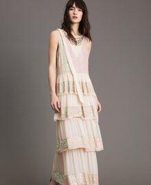 Robe longue en georgette ornée de sequins Rose Bouton Femme 191TP2580-01