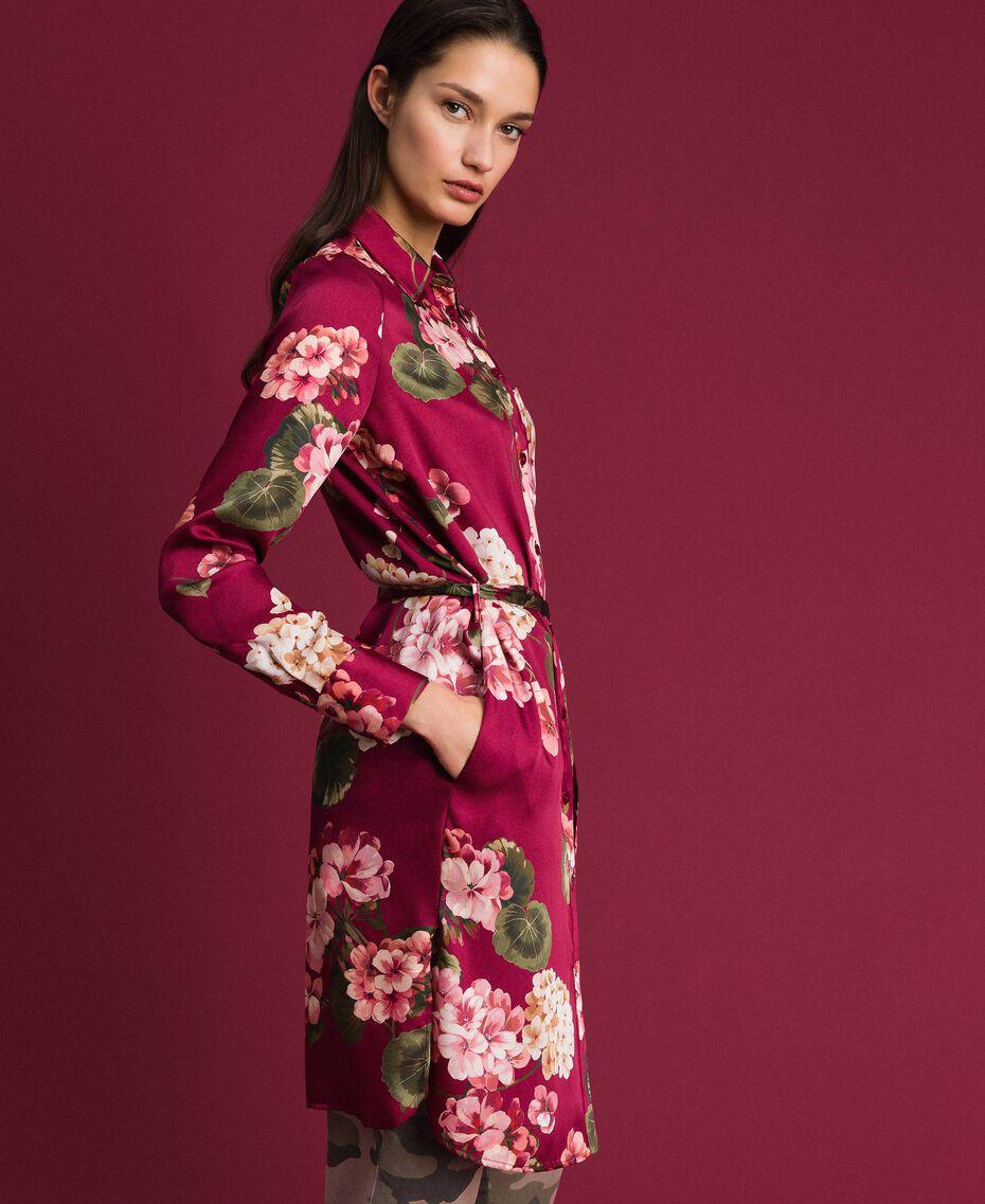 Chemise longue avec imprimé floral Imprimé Rouge Betterave Géranium Femme 192TP2608-02