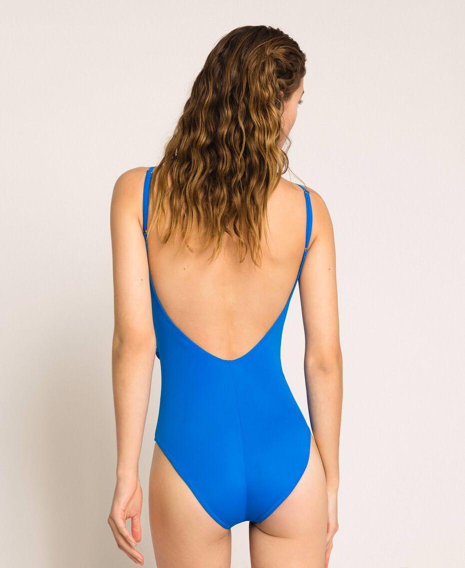 Logo one-piece swimsuit Fluo Blue Woman 201LBMH00-03