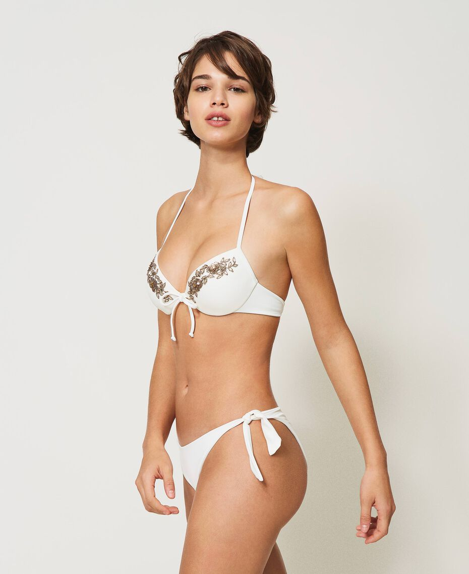 Bikinitanga mit Schleifen Elfenbein Frau 211LMM388-02