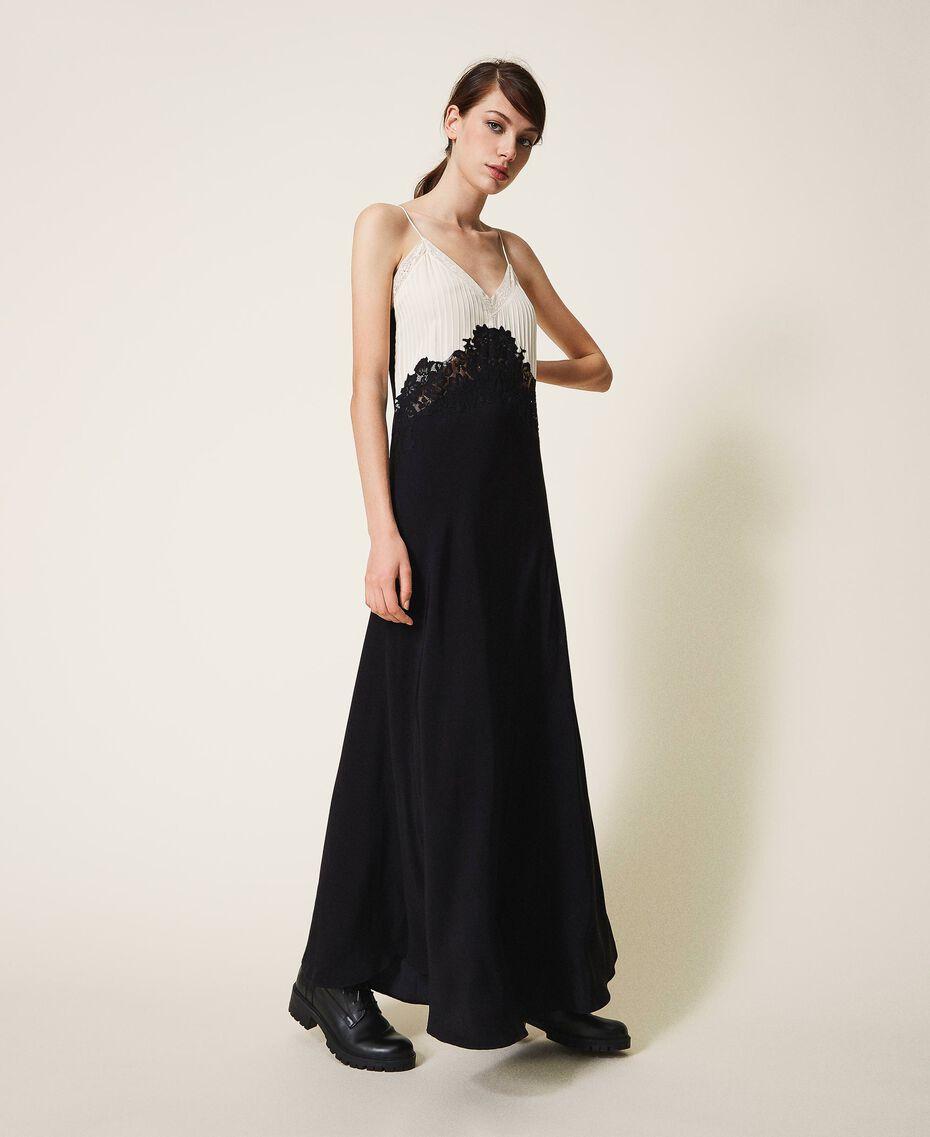 Long lace dress Two-tone Cream White / Black Woman 202TP2121-01