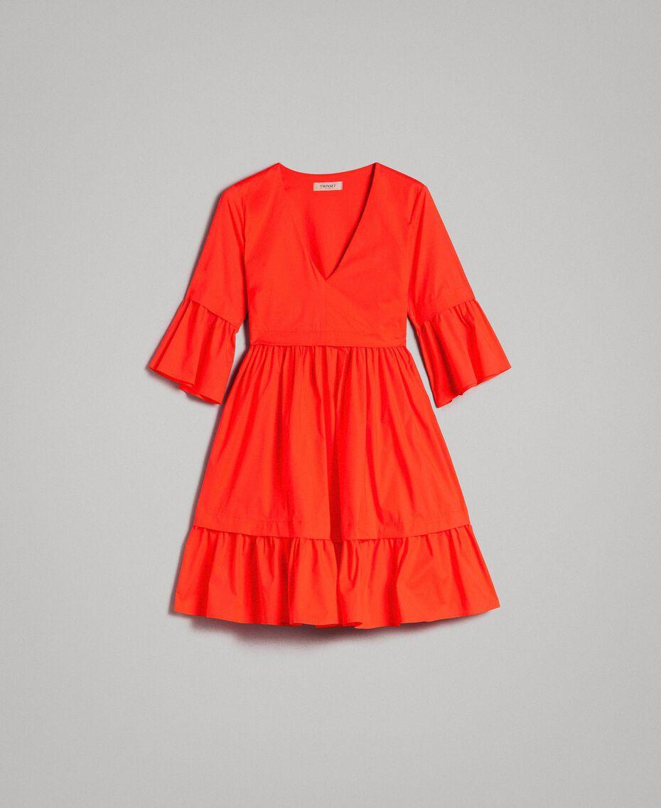 Popeline-Kleid Rote Grenadine Frau 191TT2235-0S