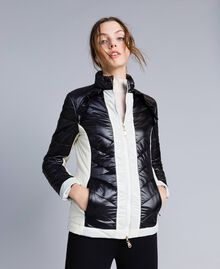 Two-tone quilted nylon padded jacket Bicolour Black / Blanc Woman IA85JJ-03