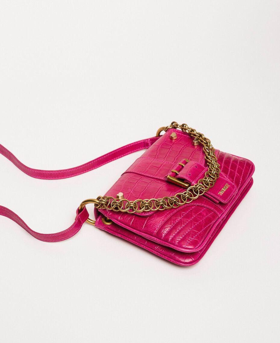 "Small Rebel shoulder bag with croc print ""Black Cherry"" Red Croc Print Woman 201TA7111-01"
