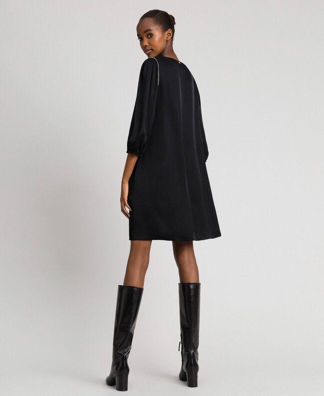 Satin dress with rhinestones Black Woman 192LI21SS-03
