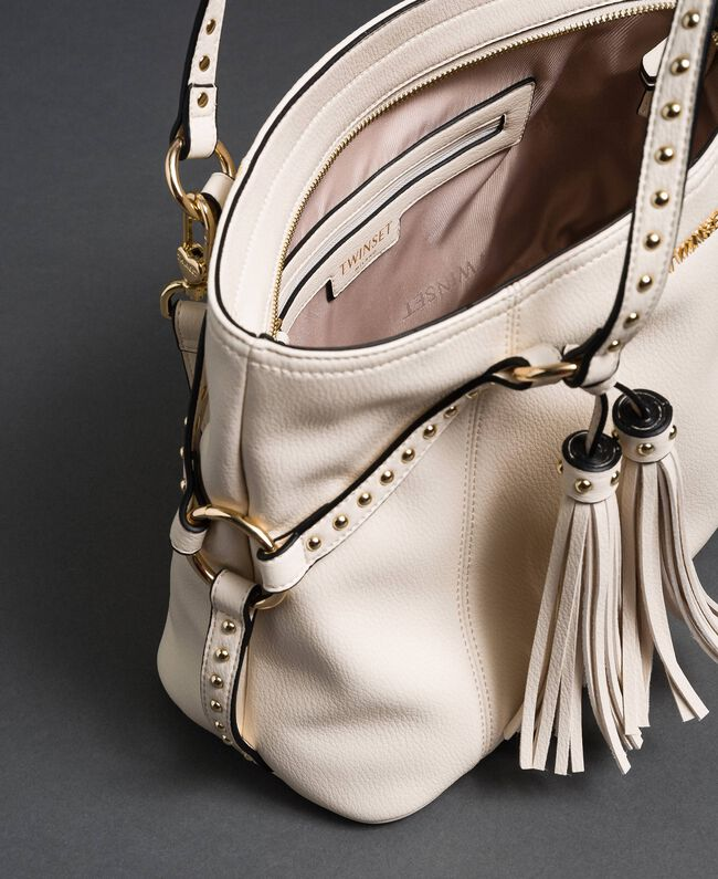 Borsa shopper in similpelle con borchie Bianco Neve Donna 192TO8160-05