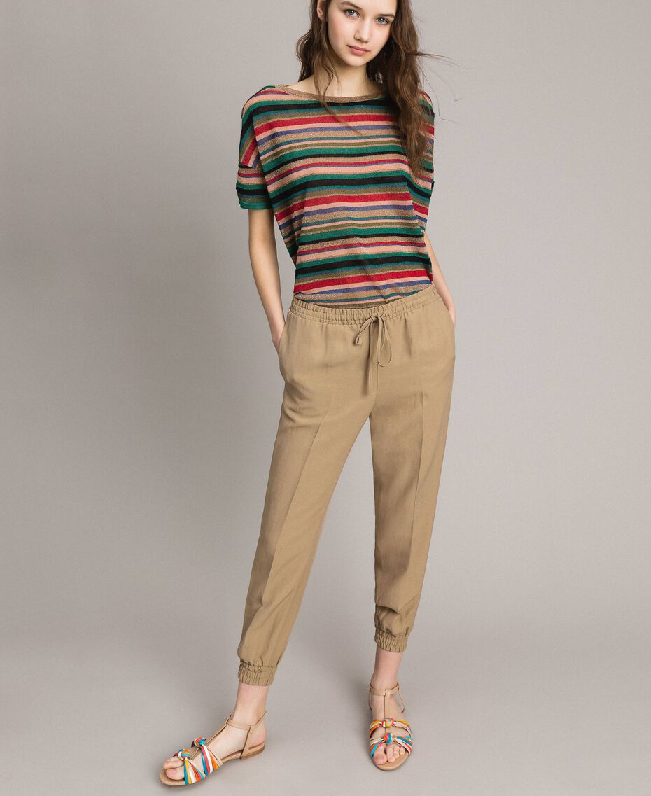 "Linen jogging trousers ""Cold Desert"" Brown Woman 191TT230B-02"