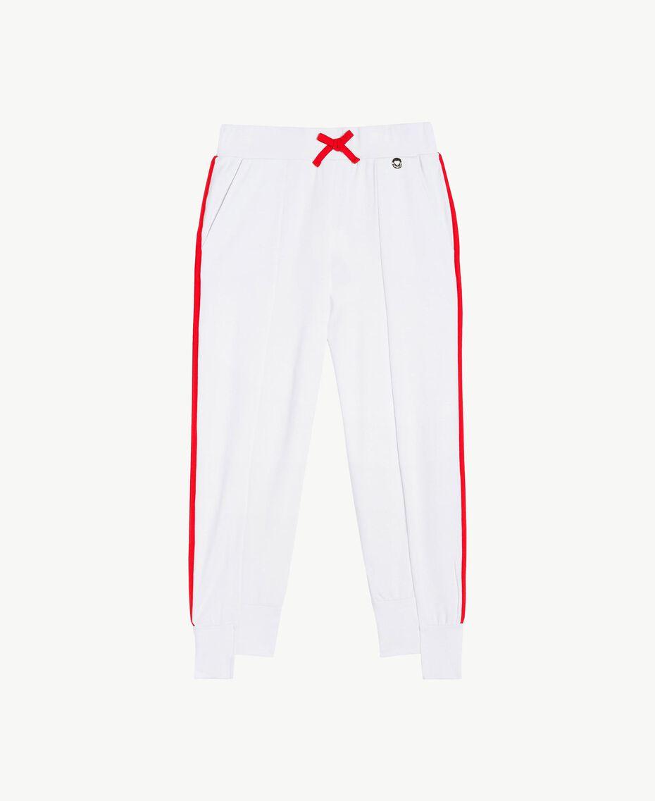 Pantalon de jogging Bicolore Blanc Papyrus / Rouge Grenadier Enfant GS82KC-01