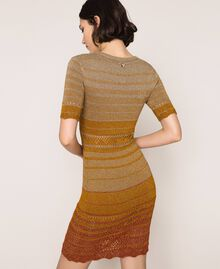 Striped lurex yarn dress Multicolour Gold Stripes Woman 201TT3090-03