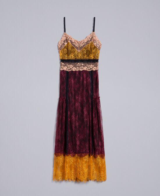 Vestido largo de encaje de Valenciennes multicolor