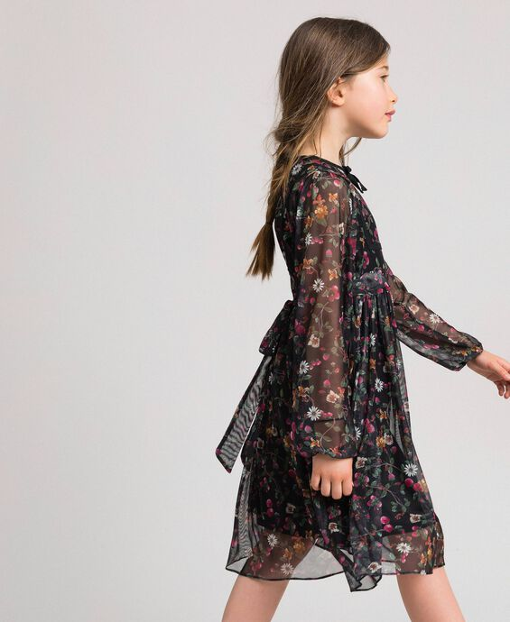 Floral print tulle dress