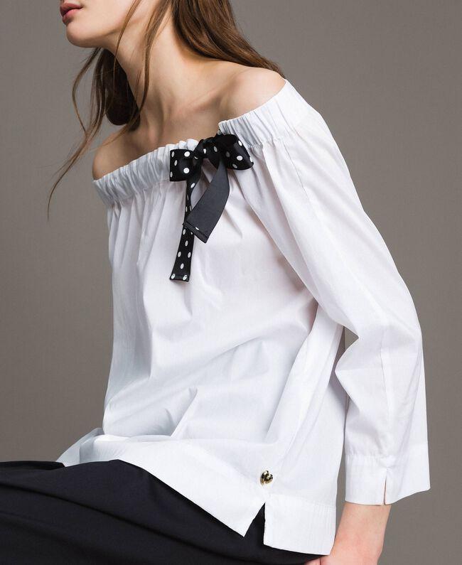 Blouse en popeline avec cordon Crème White Femme 191MP2196-04