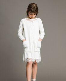 Cardigan aus Baumwolle mit Spitze Mattweiß Kind 191GJ3021-0S