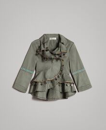 Cotton jacket with mini medals Tundra Green Child 191GJ2070-01