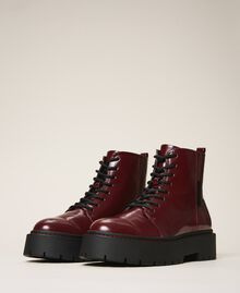 """Faux leather combat boots """"Wine tasting"""" Purple Woman 202MCT140-01"""