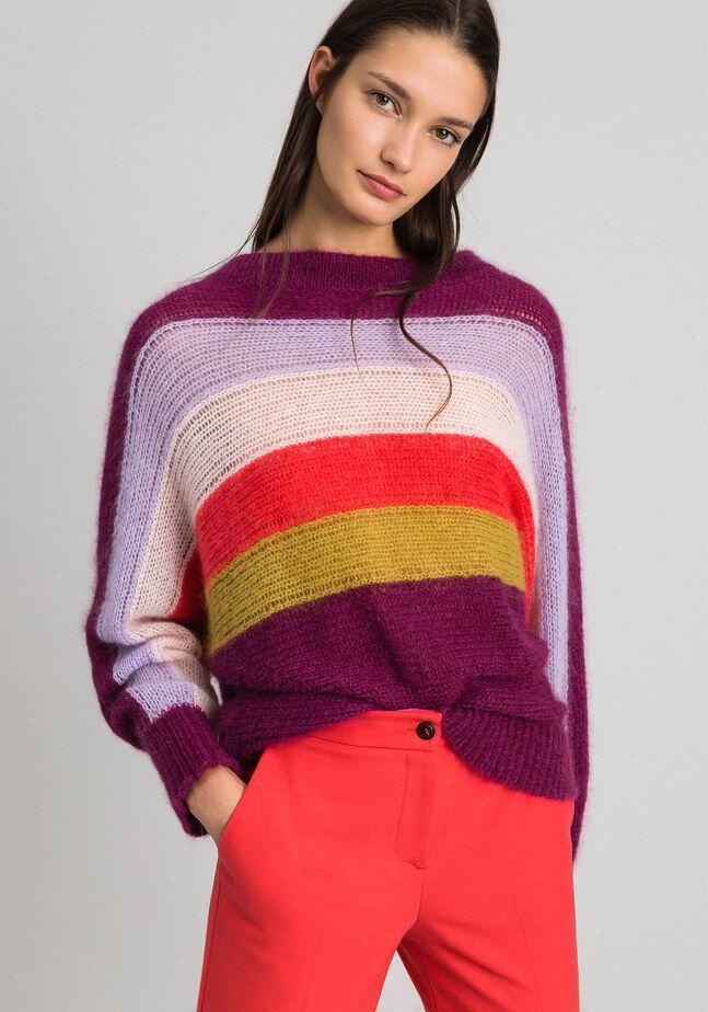 Multicolour stripe mohair jumper