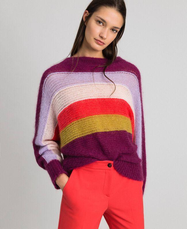Mehrfarbig gestreifter Pullover aus Mohair Multicolorstreifen Samtrot Frau 192TT3272-01