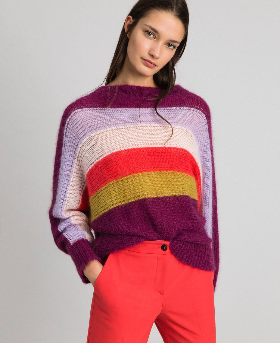 Multicolour stripe mohair jumper Multicolour Stripe Red Velvet Woman 192TT3272-01
