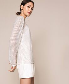 Tulle and full sequin blouse Ivory Woman 201TP2050-02
