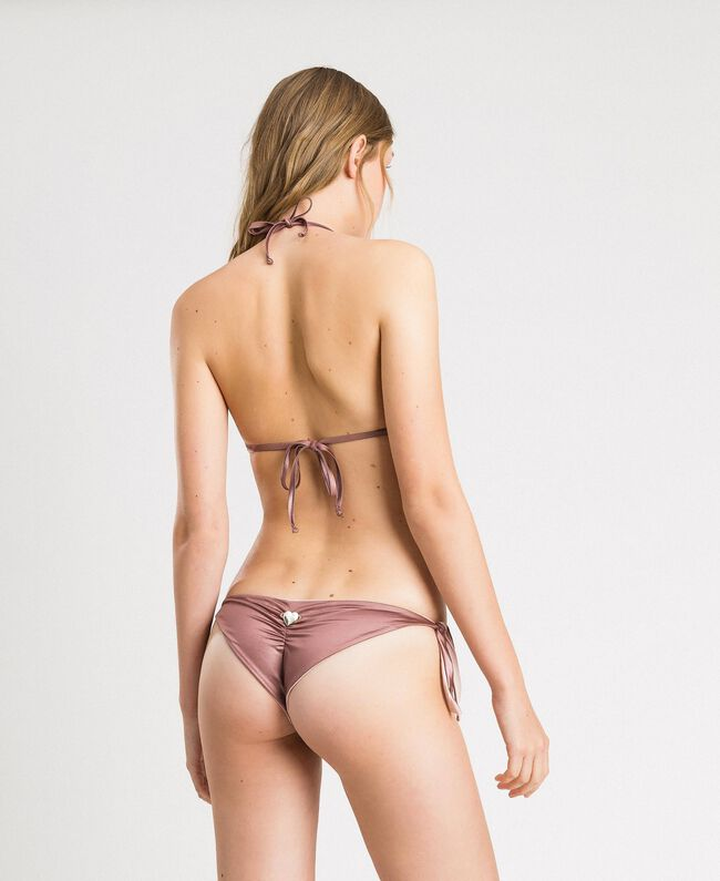 "Push-up-Bikinitop aus Tüll mit Stickerei ""Bronze Powder"" Braun Frau 191LBM144-03"