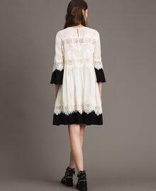 """Georgette dress with lace Bicolour """"Snow"""" White / Black Woman 191TT2102-04"""
