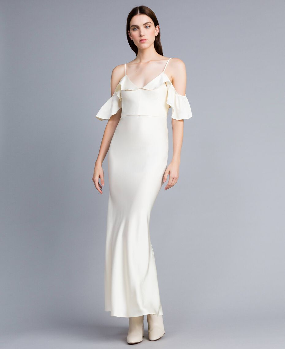 Envers satin long dress with ruches White Snow Woman TA8243-02