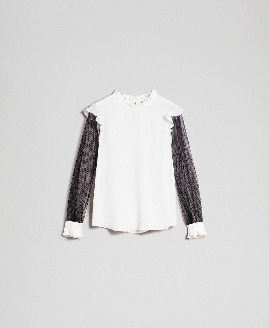 Blouse en crêpe de Chine de soie mélangée et tulle Bicolore Noir / Blanc Neige Femme 192TP2362-0S