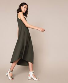 Long asymmetric dress with flounce Elm Green Woman 201ST2142-02