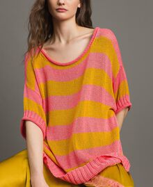 """Maxi jumper with slits """"Coral Geranium"""" Red / """"Honey Gold"""" Striping Woman 191TT3150-05"""