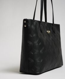 Borsa shopper in similpelle stampa cuori Nero Donna 192MA7010-01