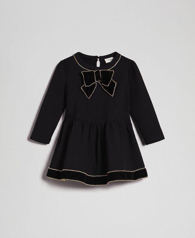 Kleid mit Brosche aus Samt mit Strassbesatz Schwarz Kind 192GB2251-01