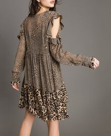 Animal print georgette dress Mixed Animal Print Woman 191TP2722-03