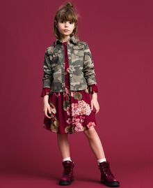 Kleid aus Georgette mit Blumenprint Print Rote-Bete-Rot Geranie Kind 192GJ2592-0T
