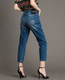 Destroyed girlfriend jeans with sequins Denim Blue Woman 191MT2184-03