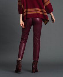 Pantalon cigarette en similicuir Rouge Violet Femme 192LI2EBB-04