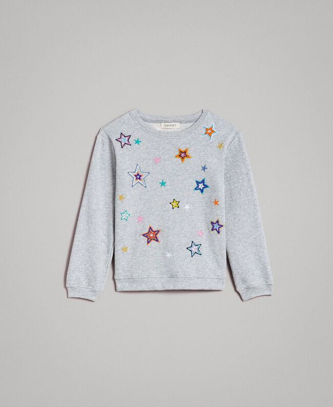 Strech cotton sweatshirt with star embroideries Light Gray Mélange Child 191GJ2321-01