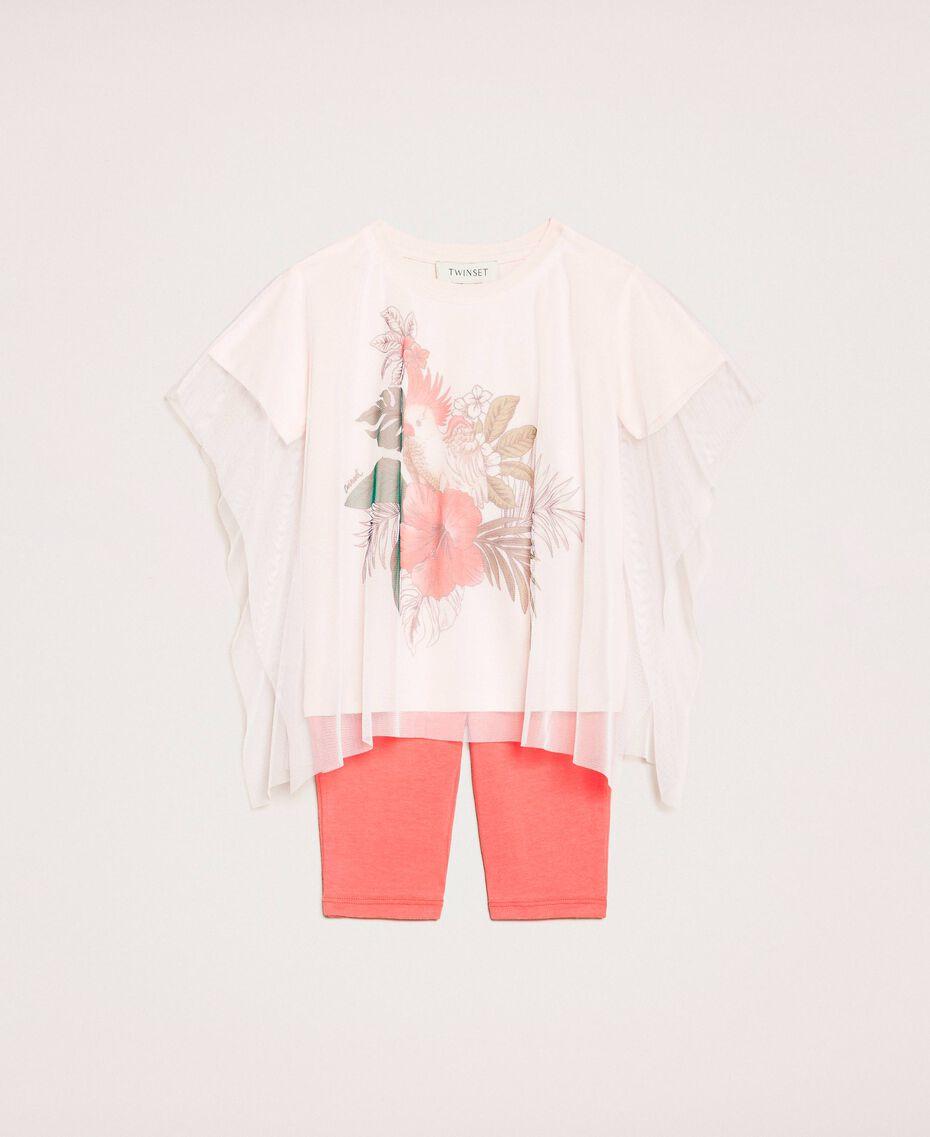 Maxi t-shirt avec tulle et legging Imprimé Cacaotès Rose Clair / Rouge «Calypso Coral» Enfant 201GB2312-01
