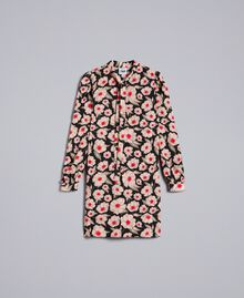 "Kleid aus bedrucktem Crêpe de Chine Print ""Wind Flower"" Karamell / Schwarz Frau YA82FN-0S"