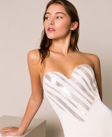 """One-piece swimsuit with sequins """"Milkway"""" Beige Woman 201LBMCZZ-04"""