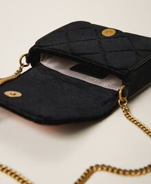 Velvet shoulder bag with patch Black Woman 202TD8280-05