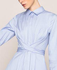 Long poplin shirt dress Sky Blue Woman 201MP218C-05
