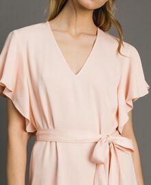 "Satin dress with belt ""Rose Sand"" Pink Woman 191TT2450-03"