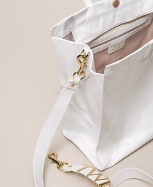 Borsa shopper in pelle con logo Bianco Neve Donna 201TA7090-05