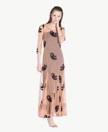 Long embroidered dress Black Woman MS8BJJ-02
