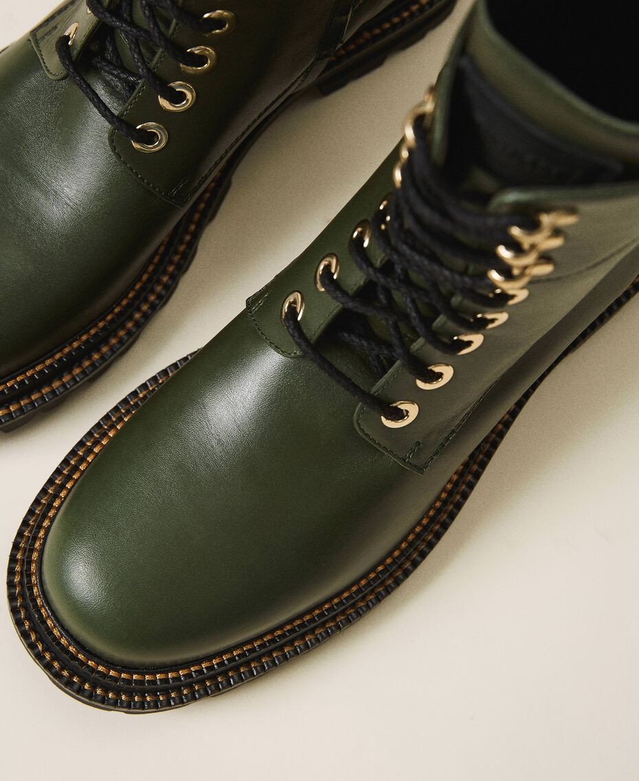 Tie-up leather combat boots Black Woman 202TCP182-02